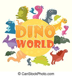 Dinosaurs world poster. Vector cartoon dinosaurs