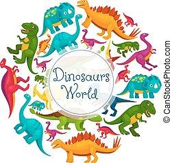 Dinosaurs world vector cartoon poster - Dinosaurs world...