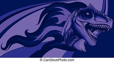 dinosaurus allosaurus head with flames vector illustration design