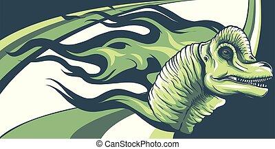 dinosaurus brachiosaurus head with flames vector illustration design