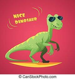 Dinosaurus Cartoon Toy Red Background Poster