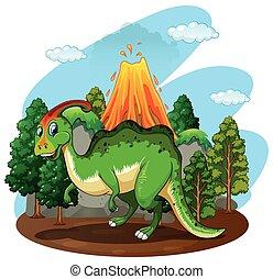 dinosaurus, groen bos