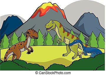 dinosaurus, gruppo, preistorico