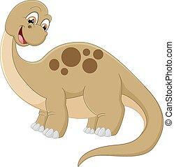 dinosaurus, halsen, længe, cartoon