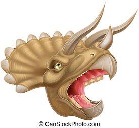 dinosaurus, hlavička, triceratops