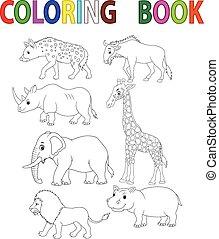 dinosaurus, kleuren, spotprent, boek