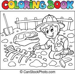 dinosaurus, kleurend boek, graafwerktuig