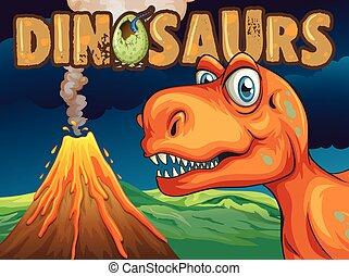 dinosaurus, poster, ontwerp, t-rex