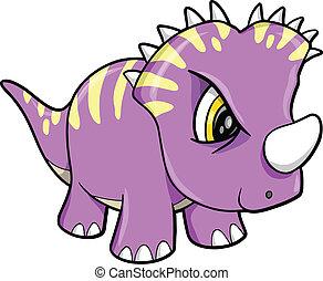 dinosaurus, schattig, vector, volhardend, dier