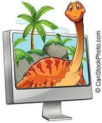 dinosaurus, skærm, computer, smil