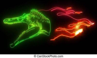 dinosaurus Spinosaurus head digital video