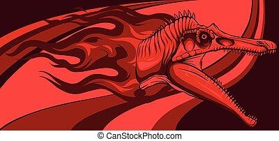 dinosaurus Spinosaurus head with flames vector illustration design