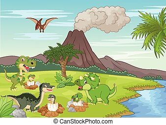 dinosaurus, spotprent, het nestelen, grond