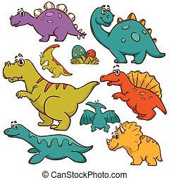 dinosaurus, spotprent, verzameling, set