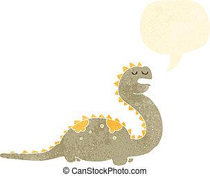 dinosaurus, spotprent, vriendelijk, retro
