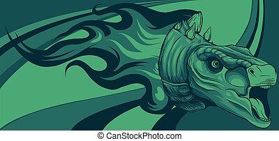 dinosaurus stegosaurus head with flames vector illustration design