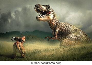 dinosaurus, styracosaurus, met, tyrannosaurus, t-rex