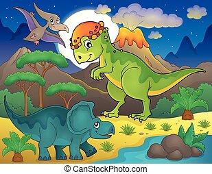 dinosaurus, thema, 4, landscape, nacht