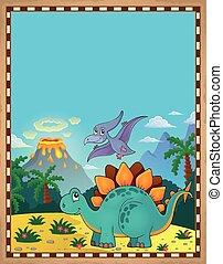 dinosaurus, thema, 5, perkament