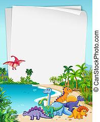 dinosaurus, thema, papier, natuur
