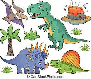 dinosaurus, topic, set, 4