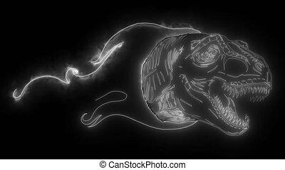 dinosaur tyrannosaurus rex head digital video