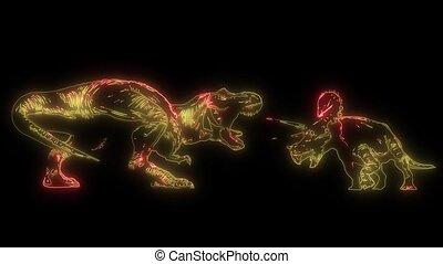 dinosaurus Tyrannosaurus Rex laser animation - a dinosaurus...