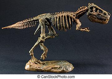 dinosaurus, tyrannosaurus, t rex, skelet, op, zwarte achtergrond