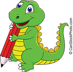dinosaurus, vrolijke , spotprent, schrijvende