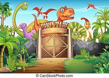 dinosaurussen, park, levend