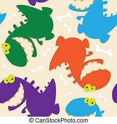 dinosaurussen, seamless, schattig
