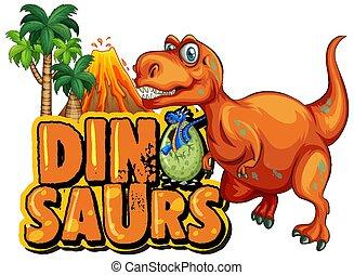 dinosaurussen, t-rex, ontwerp, vulkaan, lettertype, woord