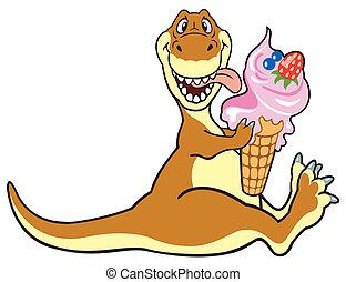 dinosour, ghiaccio, mangiare, crema, cartone animato