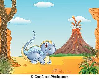 dinossauro, adorável, sentando