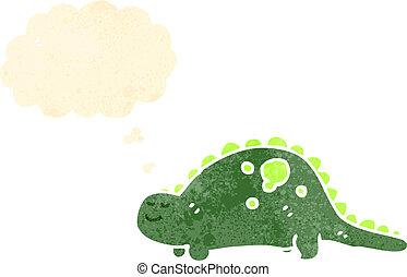 dinossauro, caricatura, amigável, retro