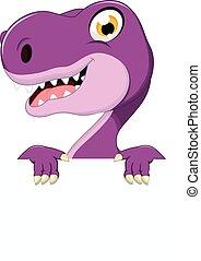 dinossauro, caricatura, com, sinal branco