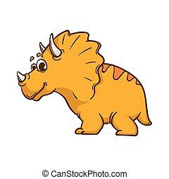 dinossauro, caricatura, cute, monstro