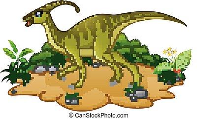 dinossauro, caricatura, feliz