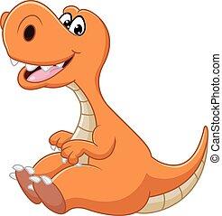 dinossauro, caricatura, sentando