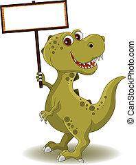 dinossauro, com, sinal branco