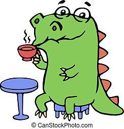 dinossauro, cute, café, sentando