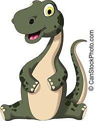 dinossauro, cute, caricatura, sentando