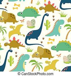 dinossauro, cute, seamless, padrão