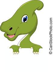 dinossauro, em branco, caricatura, sinal