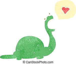 dinossauro, personagem, amigável, caricatura