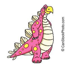 dinossauro, personagem, feliz