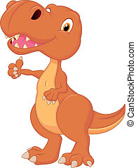 dinossauro, polegar, cute, caricatura, dar
