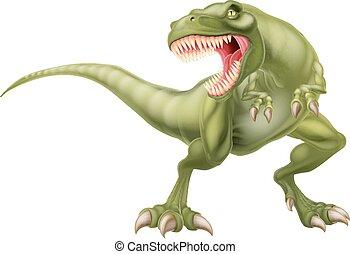 dinossauro, rex, t, ilustração