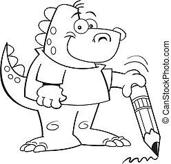 dinossauro, segurando, lápis