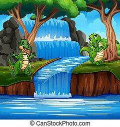 dinossauros, tocando, verde, natureza